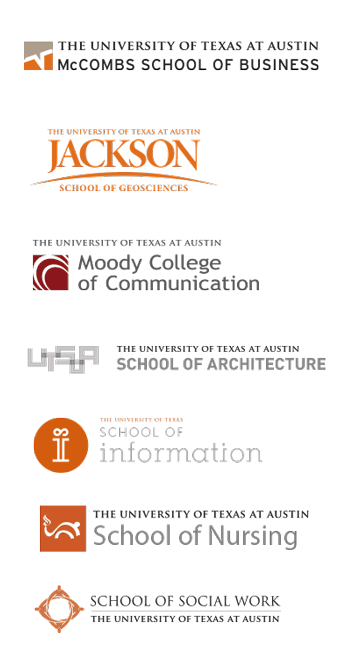 A selection of visually disparate logos from the University of Texas at Austin, including logos from the McCombs School of Business, Jackson School of Geosciences, Moody College of Communication, School of Architecture, School of Information, School of Nursing and School of Social Work.