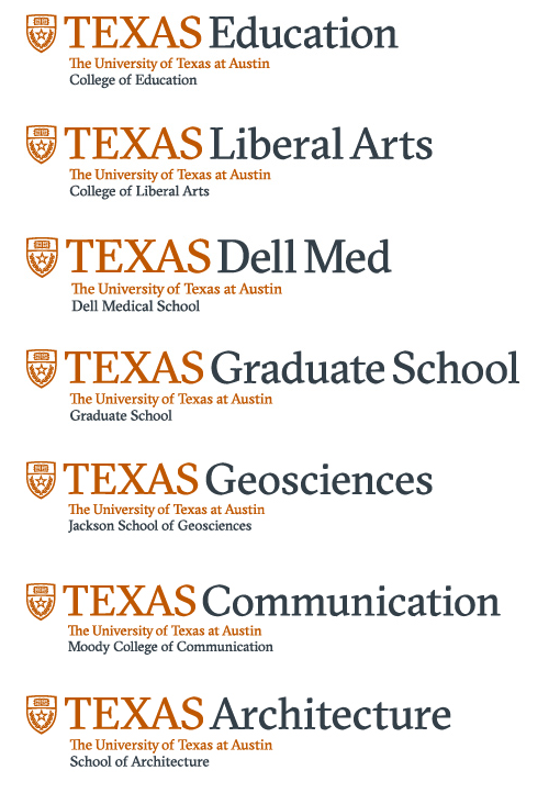 A selection of logos from the University of Texas at Austin with branding consistently applied.