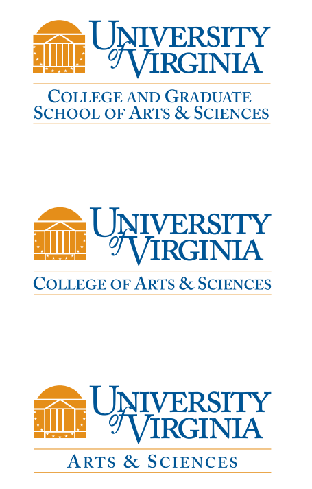 A selection of three logos from the University of Virginia with clearly shared branding elements.