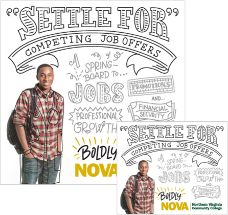 Don't Settle images from Boldy NOVA campaign.